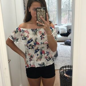 Off the shoulder floral shirt
